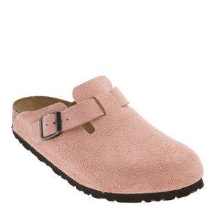 Birkenstock Bostons in Pink Suede Leather